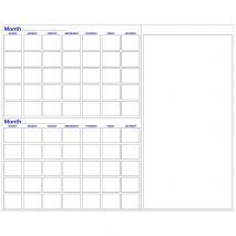 Two month dry erase calendar with notes