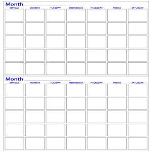 Two month dry erase calendar