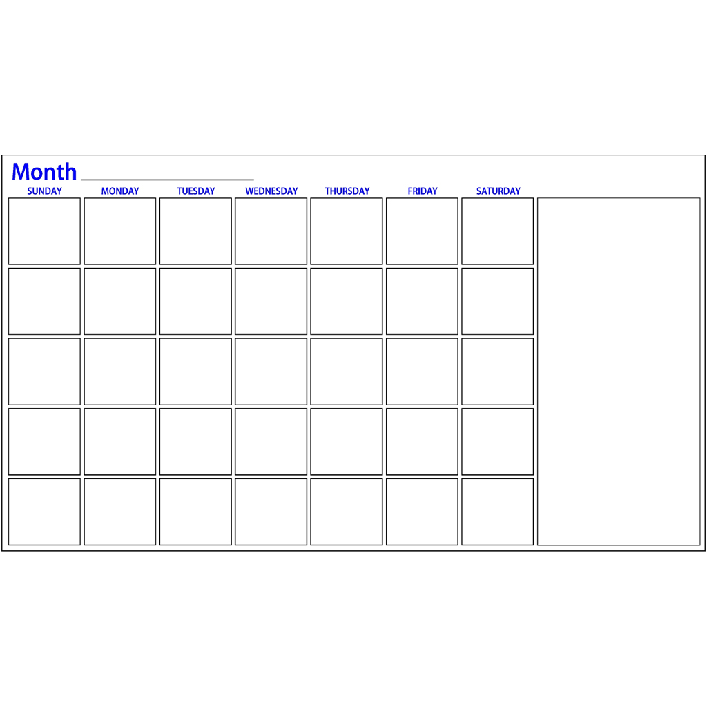 One Month Dry Erase Calendar With Notes | Made4Heroes